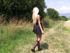 Pretty blonde lass called Vanessa visits the wild and masturbates