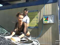Pretty young french babe hard sodomized in a carwash