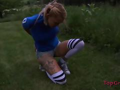 Foxy blonde hussy gets bound and has her twat drilled with a machine