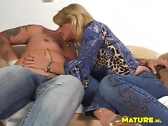 Hot blonde cougar Sylvie sucks and rides on top of a hard shaft