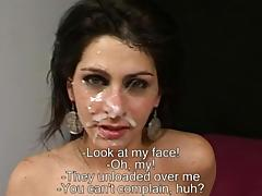 Argentinian hottie gets cum all over her face