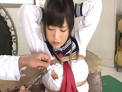 Cute Asian looker Nozomi likes having her wet snatch hammered
