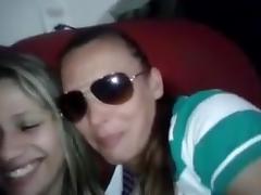 Two Shy Girls kissing