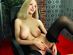 Gorgeous blonde TenderTiffany fucks herself in the chair