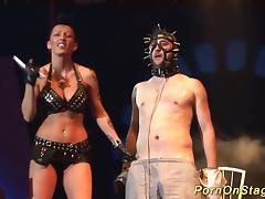 Extreme fetish porn lesson on european public sexfair show stage