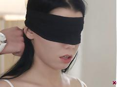 Rough, Banging, Blindfolded, Couple, Cowgirl, Doggystyle