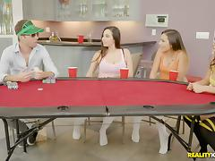 A game of cards quickly turns into a wild group shagging