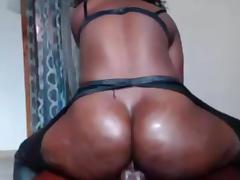 Cam ebony girl riding dildo anal