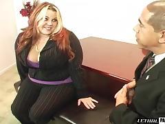 Curvy BBW fingering pussy then worked on hardcore in office
