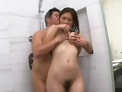 Japanese natural tits getting fondled in the shower