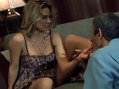 Couple in a hardcore pounding while babe in bra moans