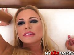 Dirty talker blonde milf gets rough fucking action POV