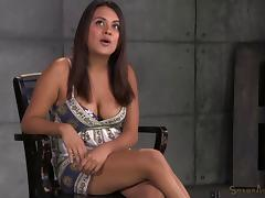 Restrained babe Selma is fucked by a machine while blowing on dicks
