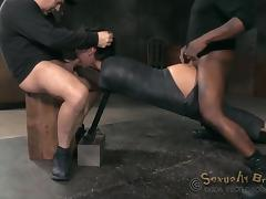 Tattooed cowgirl penetrated doggystyle roughly in mmf BDSM