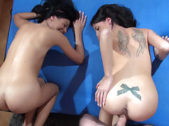 Povbitch - Dellai Twins fucked together and fight for cock