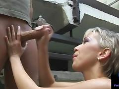 Monique jerking Thomas Stone huge shaft outdoors