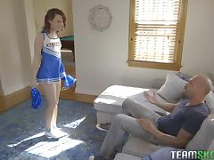 Cheerleader Harley Ann Wolf spreads her legs for a pulsating dick