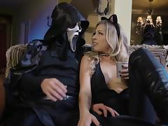 Strong Halloween shag on the floor for slutty Zoey Monroe