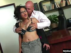 Naughty Asian secretary bends over for a handsome man's dick