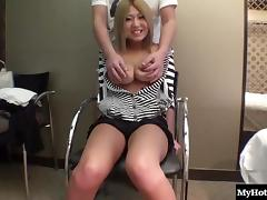 Blonde Asian chick sucks a dick before her hairy cunt is being drilled