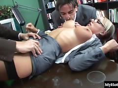 Foursome, Blonde, Foursome, Hardcore, Office, Penis