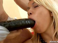 Blonde oiled slut Vladlena has her asshole penetrated with huge things