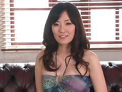Manami Komukai's hairy cunt attacked by two pussy craving guys