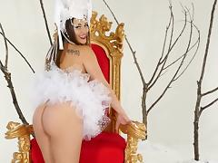 stunning brunette princess plays with her vagina on the throne