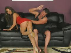 Spanking and slamming the pussy of Carmen Caliente doggystyle