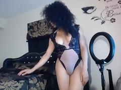 Cute black webcam shemale strokes cock