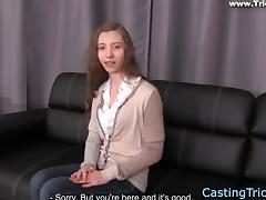 Casting petite newbie banged on film