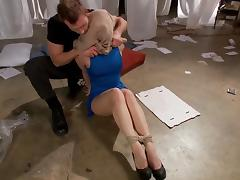 Hot Blonde Fucked In Tight Bondage