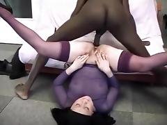 Chubby japanese wife takes a monster cock in the ass