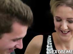 Sexy blonde mature pussy smashed by big strong dick dude