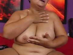BBW Granny rubbing her pussy