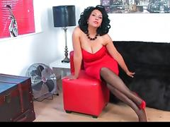 Danica collins in red dress   heels with black stockings