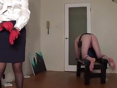 Miss sultrybelle administers 100 hard strokes.