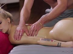 blonde hottie sucks the horny masseur's erect cock