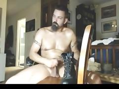 Cock abuse with heavy boot