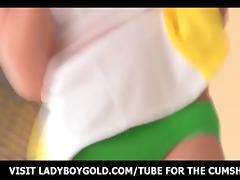 Yellow Stockings Ladyboy Anal Toy Play