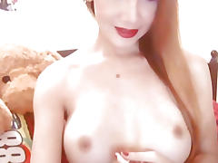 Busty Gorgeous Shemale Strips and Masturbates
