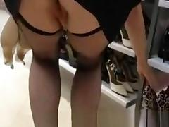 Shop, Ass, Black, Boots, Ebony, Fishnet