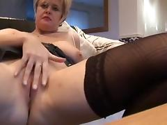 Horny Homemade clip with Stockings, Masturbation scenes