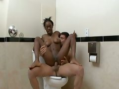 Black girl fucked and creampied in public bathroom