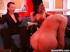 Naked bald dude licks mistress leather part3