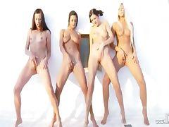 Four lesb babes fingering together