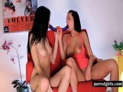 Lesbian nymphos sucking a double dildo