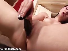 Judy smile stuffing big black toy into her wet pussy porn video