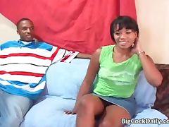 Sexy cute ebony babe sucks fat black