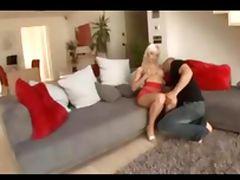 Hot blonde in red panties